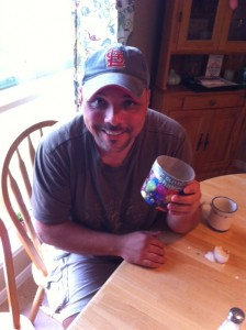 Eric and some edible adhesive. How cute.