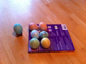 Glitter eggs. One was cracked and we could not put glitter on it. Caleb's, specifically
